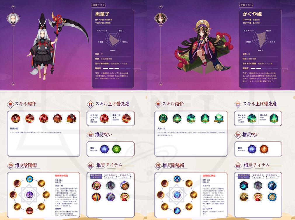 決戦!平安京 PC 守タイプ、呪タイプの式神キャラクターイメージ