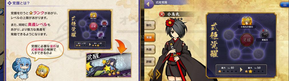 式姫転遊記 全式姫のレアランクを強化できる覚醒スクリーンショット