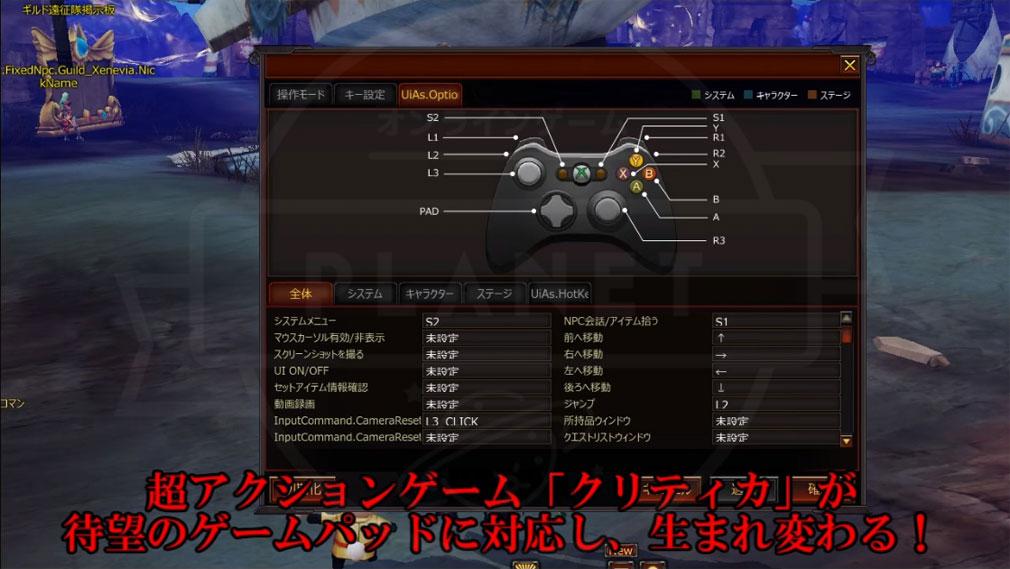 KRITIKA Revolution(クリティカR) Xlnput対応のゲームパッドに対応したゲーム内設定画面