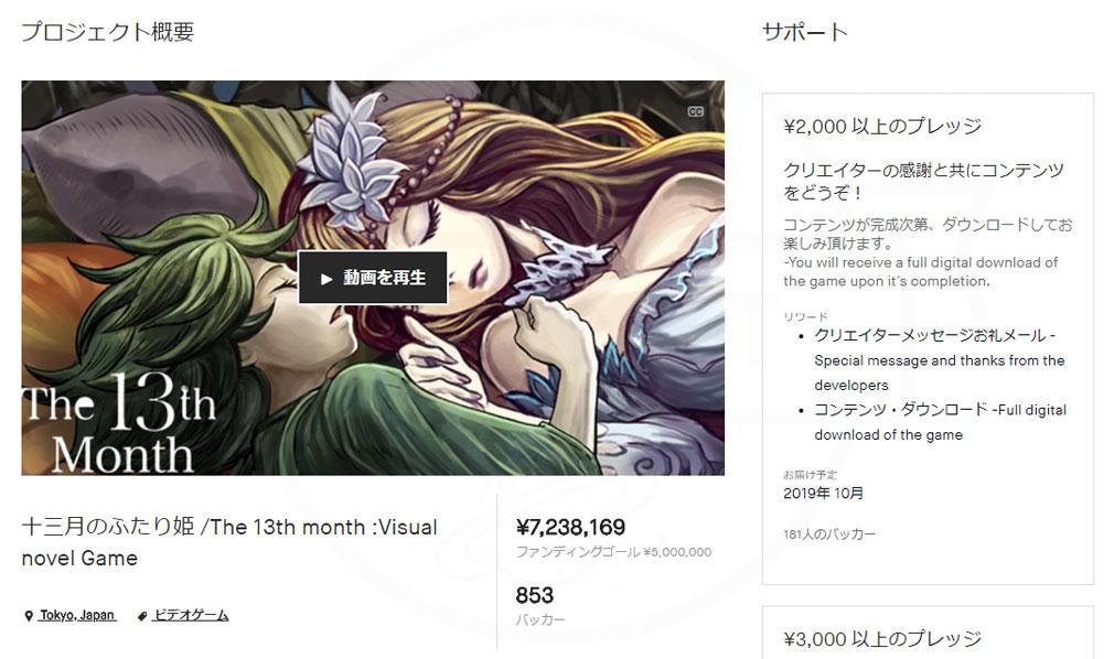 十三月のふたり姫 PC クラウドファンディングサービス『kickstarter』最終目標額の500万を上回る約720万の資金調達に成功したキャンペーンページキャプチャー
