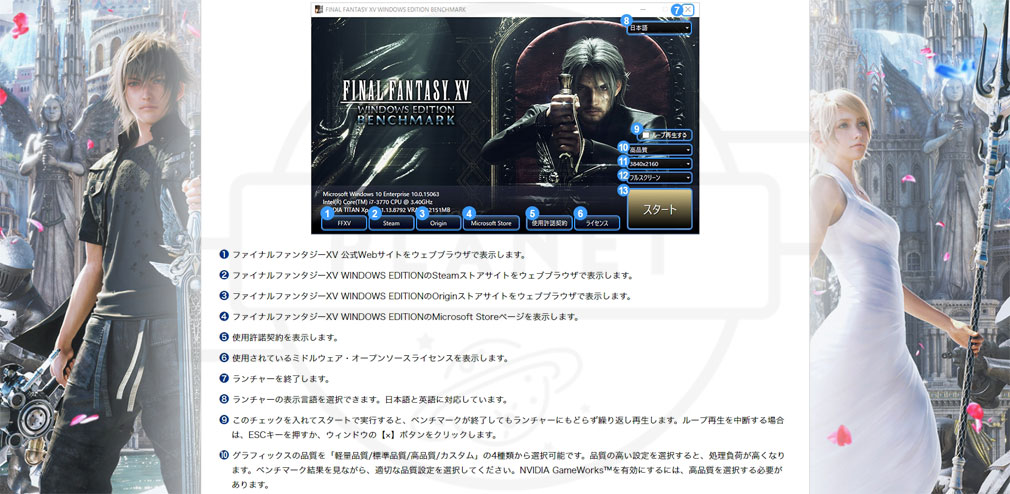 「FINAL FANTASY15 (FF15) WINDOWS EDITION PC」ベンチマーク