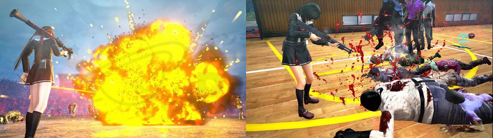 スクールガールゾンビハンター (SG/ZH School Girl/Zombie Hunter) PC 体育館、校庭でのバトルスクリーンショット