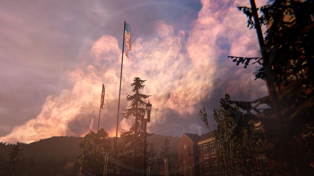 ライフ イズ ストレンジ ビフォア ザ ストーム(Life is Strange Before the Storm) PC 自然に囲まれた海沿いの町アルカディア・ベイのブラックウェル・アカデミーのスクリーンショット