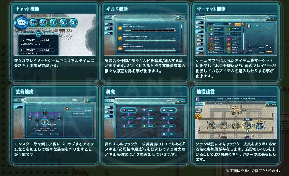クラン戦記 PC MMORPGに必要とされる機能紹介イメージ