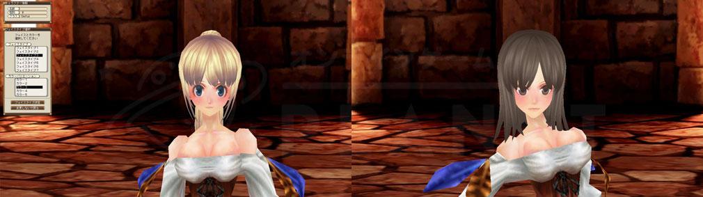 ファンタジーアース ゼロ(FEZ) キャラクターメイキング顔、髪型、ヘアカラー、アイカラー選択スクリーンショット