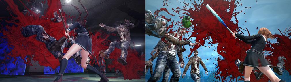 スクールガールゾンビハンター (SG/ZH School Girl/Zombie Hunter) PC 薙刀部所属の『久保田リサ』の薙刀技、ソフトボール部所属の『姫路まやや』のバット技スクリーンショット