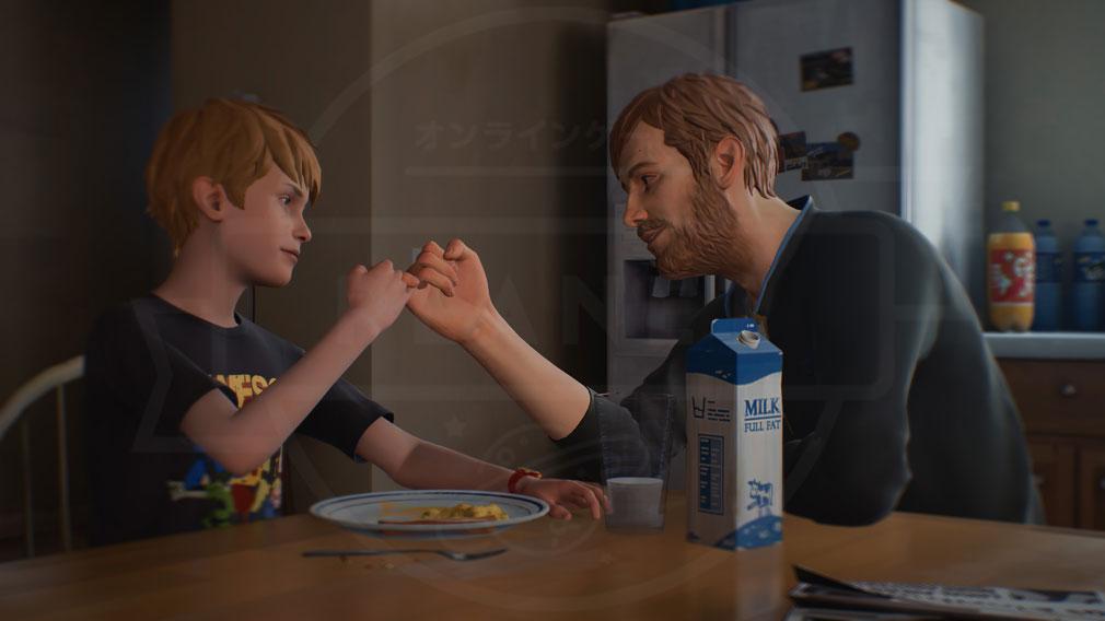 キャプテンスピリット(The Awesome Adventures of Captain Spirit) PC 優しそうだけど問題がある父親とクリスの朝食シーンスクリーンショット