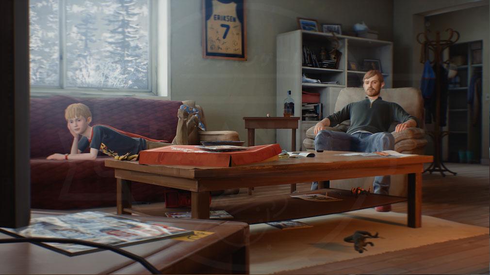 キャプテンスピリット(The Awesome Adventures of Captain Spirit) PC 朝から酒を飲んでスポーツ中継に夢中になる父と空想に耽るクリスのスクリーンショット