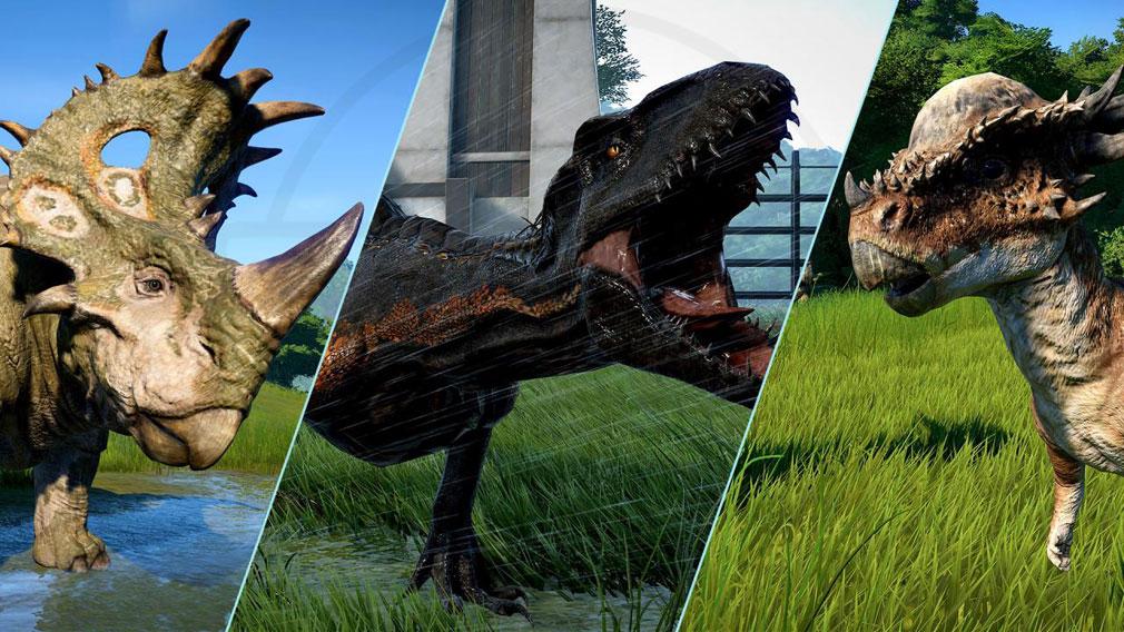 ジュラシック ワールド エボリューション(Jurassic World Evolution) PC 映画『ジュラシック・ワールド/炎の王国』に登場した恐竜『スティギモロク』、『カルノタウルス』、『シノケラトプス』スクリーンショット