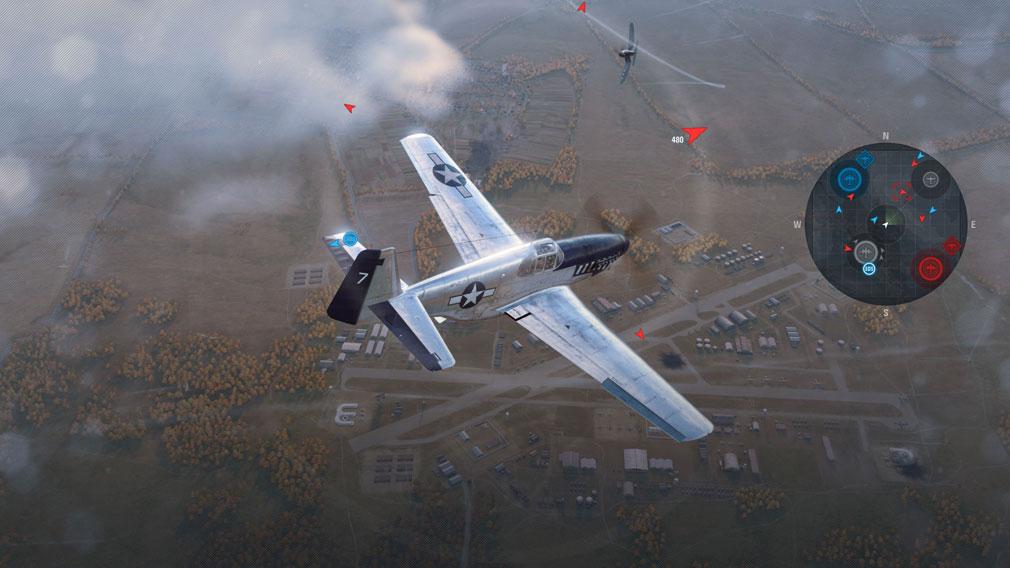 World of Warplanes (WoWP) ワールドオブウォープレインズ ミニマップ、最も近い敵機の位置表示スクリーンショット