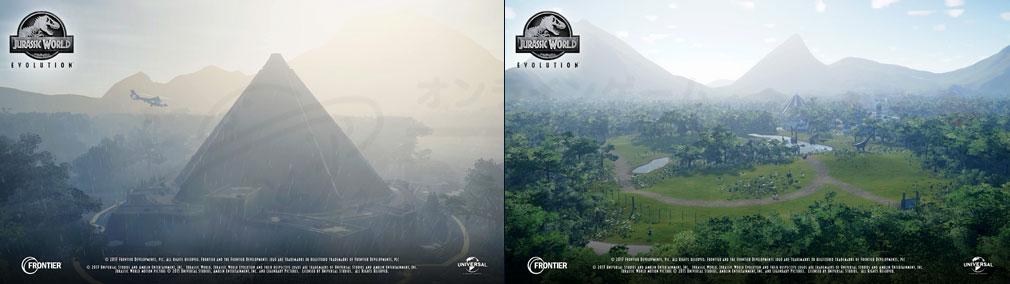 ジュラシック ワールド エボリューション(Jurassic World Evolution) PC 【サイエンス(科学)/エンターテインメント/セキュリティー(警備)】の3種の分野を発展させて島の方向性を決めていく世界観スクリーンショット