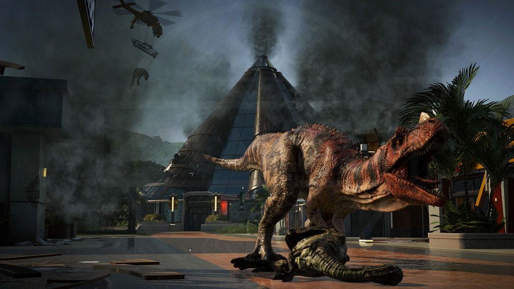 ジュラシック ワールド エボリューション(Jurassic World Evolution) PC 危険な肉食恐竜がパーク内に脱走したスクリーンショット