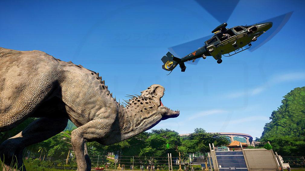 ジュラシック ワールド エボリューション(Jurassic World Evolution) PC パーク内で恐竜に対処しなければならないスクリーンショット
