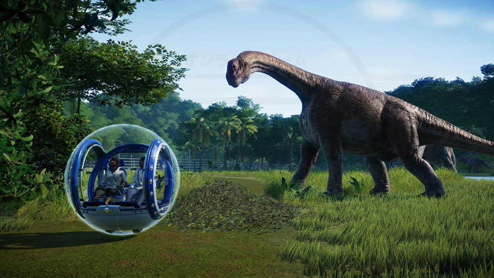 ジュラシック ワールド エボリューション(Jurassic World Evolution) PC パーク内に恐竜を展示しているスクリーンショット