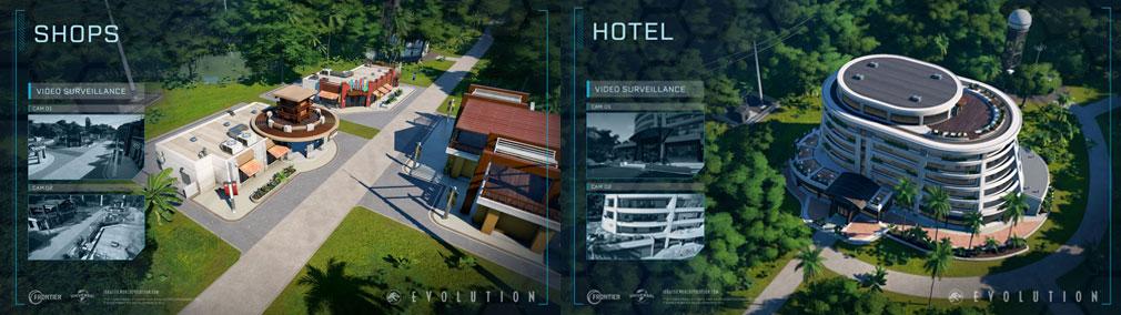 ジュラシック ワールド エボリューション(Jurassic World Evolution) PC 建設物『ショップ』、『ホテル』スクリーンショット