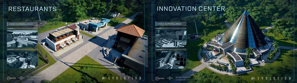 ジュラシック ワールド エボリューション(Jurassic World Evolution) PC 建設物『レストラン』、『イノベーションセンター』スクリーンショット