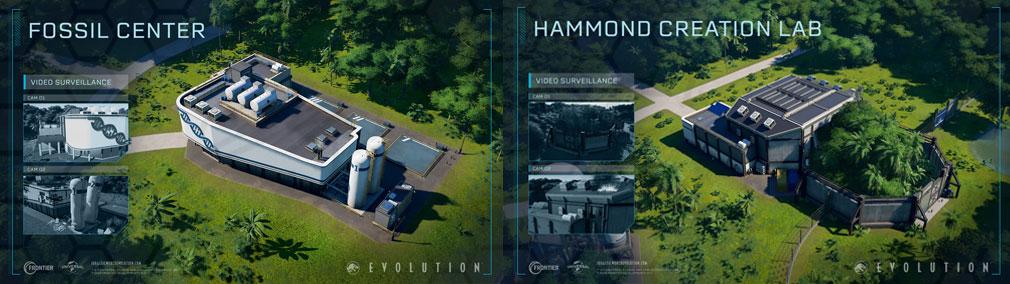 ジュラシック ワールド エボリューション(Jurassic World Evolution) PC 建設物『フォッシルセンター』、『ハモンドクリエーションセンター』スクリーンショット