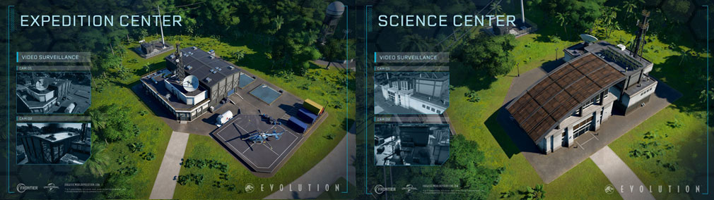 ジュラシック ワールド エボリューション(Jurassic World Evolution) PC 建設物『遠征センター』、『サイエンスセンター』スクリーンショット