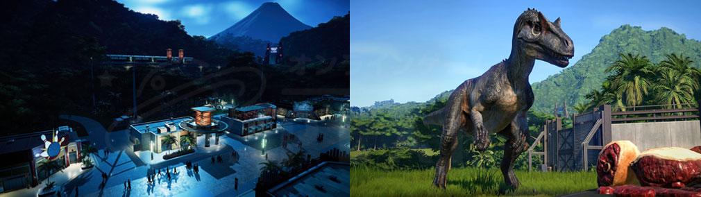 ジュラシック ワールド エボリューション(Jurassic World Evolution) PC 夜間のテーマパーク、餌あげ中のスクリーンショット