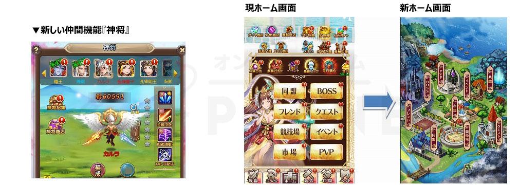 ケモニスタオンライン 新システム『神将』、新ホーム画面スクリーンショット