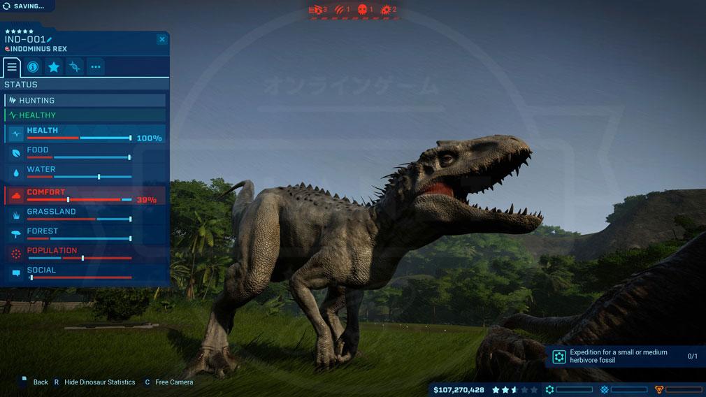 ジュラシック ワールド エボリューション(Jurassic World Evolution) PC 展示恐竜を管理しているスクリーンショット