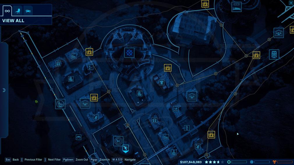 ジュラシック ワールド エボリューション(Jurassic World Evolution) PC テーマパーク内の管理マップスクリーンショット