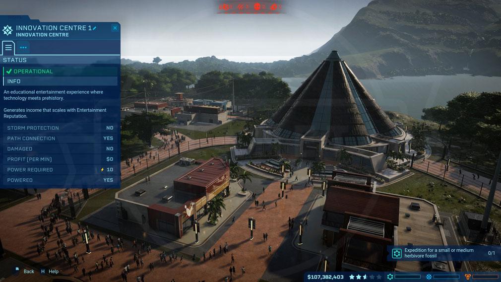 ジュラシック ワールド エボリューション(Jurassic World Evolution) PC 施設のステータス管理スクリーンショット