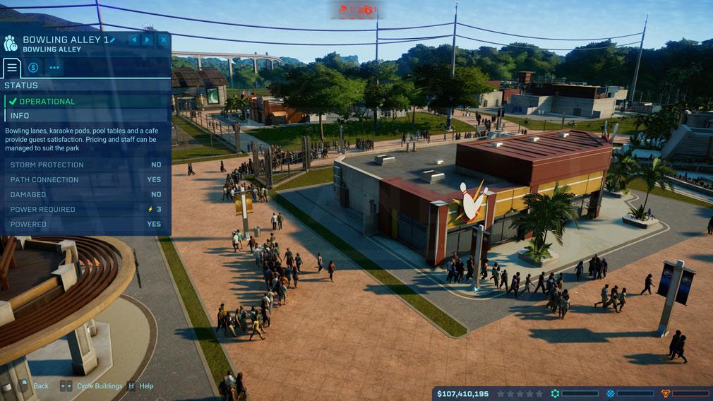 ジュラシック ワールド エボリューション(Jurassic World Evolution) PC 施設『ボーリング場』のステータスチェックスクリーンショット