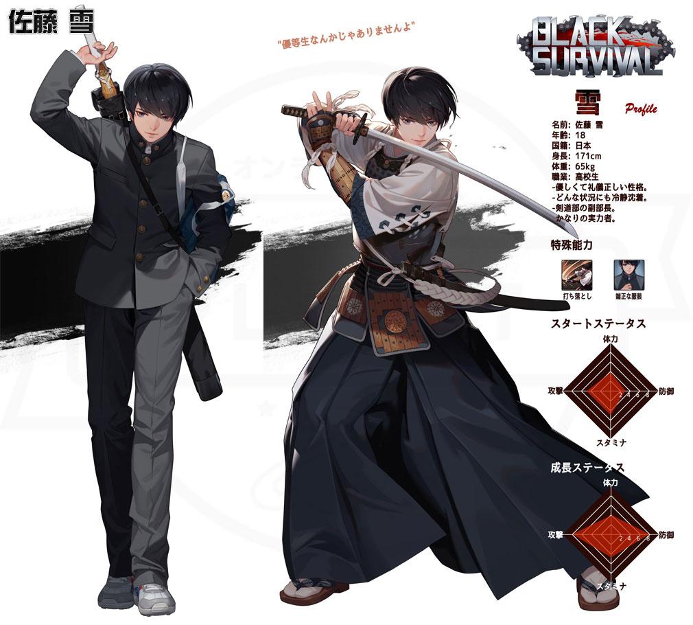 Black Survival(ブラックサバイバル)ブラサバ キャラクター【実験体No.17M-RFT31『佐藤 雪』】イメージ