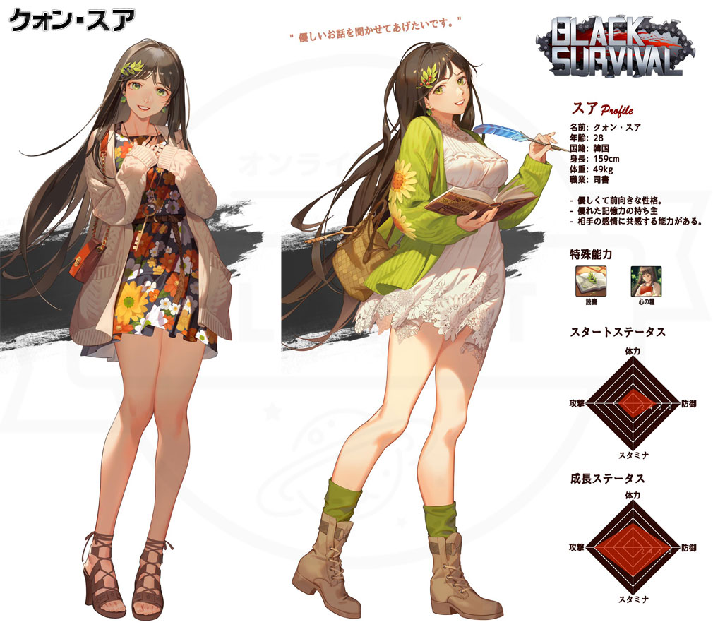 Black Survival(ブラックサバイバル)ブラサバ キャラクター【実験体No.17M-RFT33『クォン・スア』】イメージ