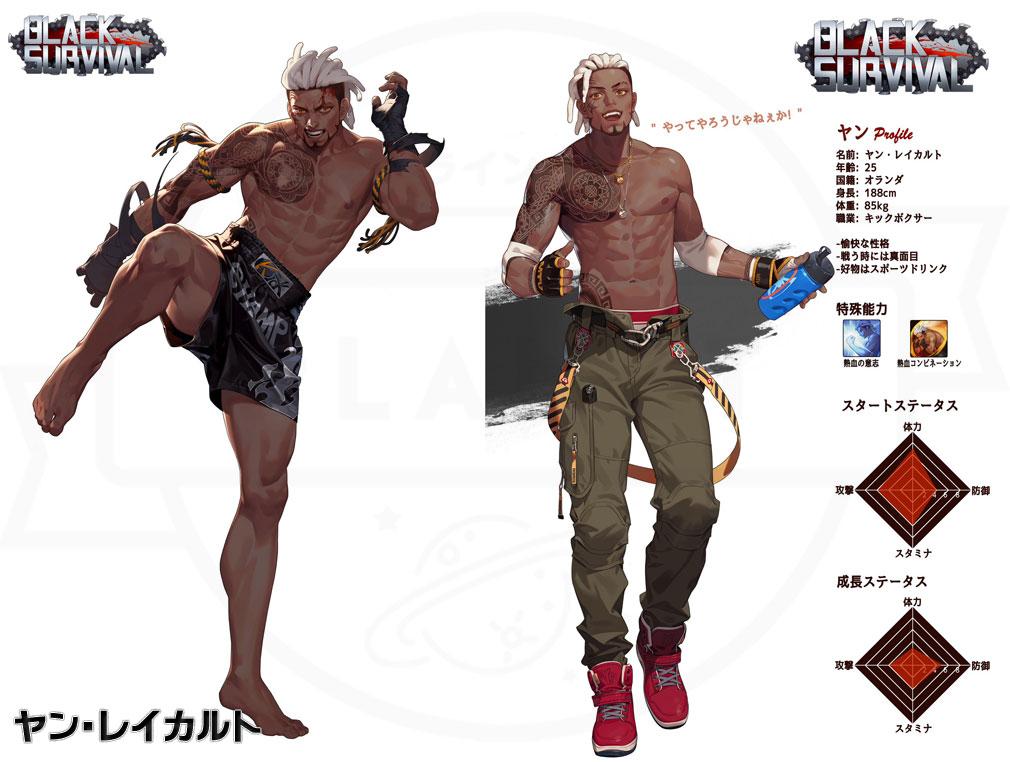 Black Survival(ブラックサバイバル)ブラサバ キャラクター【実験体No.17M-RFT35『ヤン・レイカルト』】イメージ