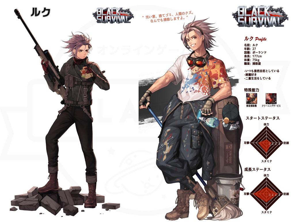 Black Survival(ブラックサバイバル)ブラサバ キャラクター【実験体No.18M-RFT36『ルク』】イメージ