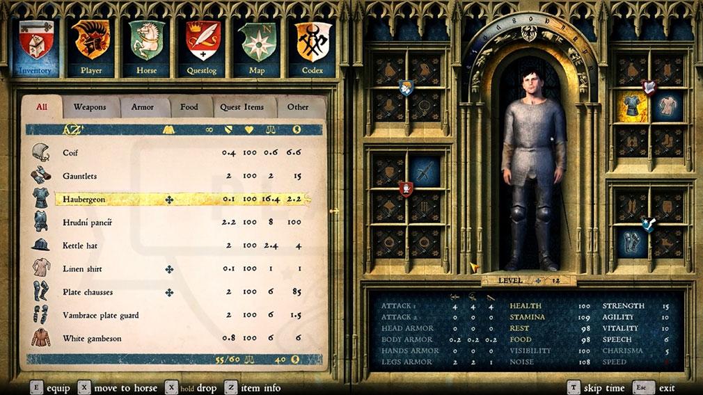 キングダムカム・デリバランス(Kingdom Come: Deliverance) キャラクターのステータススクリーンショット