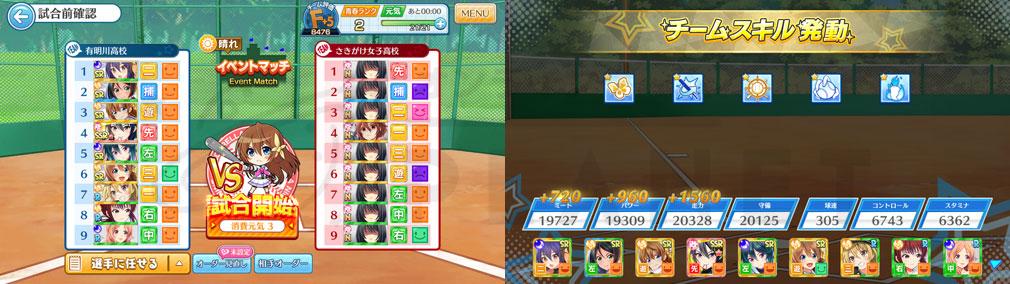 八月のシンデレラナイン(ハチナイ) PC ゲーム開始前、チームスキル発動スクリーンショット