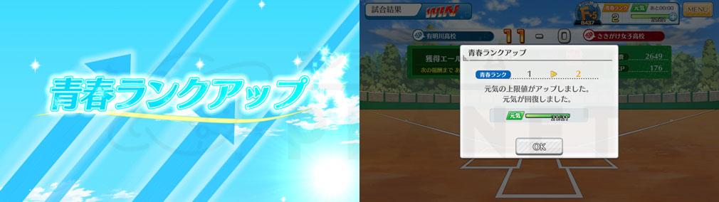 """八月のシンデレラナイン(ハチナイ) PC 『青春ランク』1段階上昇、""""元気""""が全回復スクリーンショット"""
