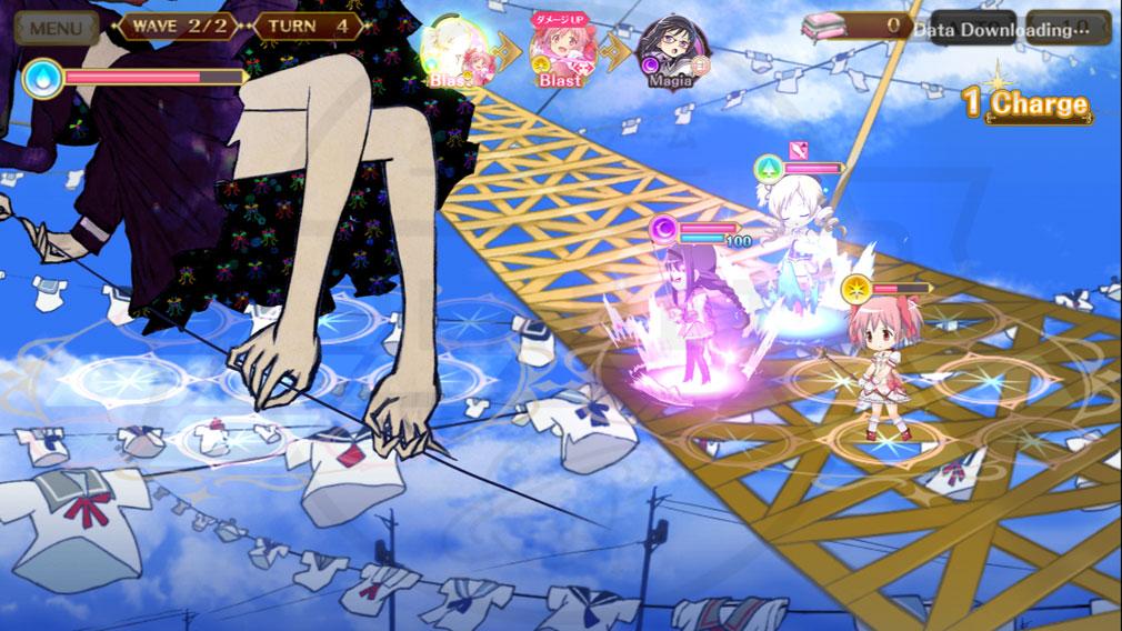 マギアレコード(マギレコ) 魔法少女まどか☆マギカ外伝 PC版 魔女とのバトルスクリーンショット