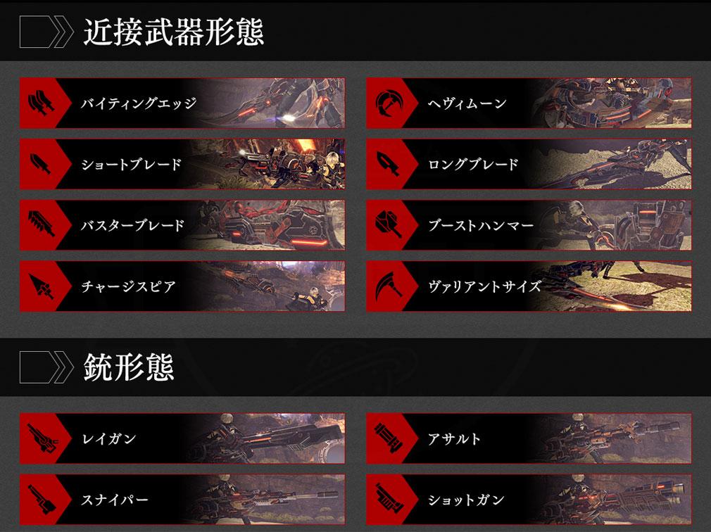GOD EATER 3(ゴッドイーター3) GE3 PC 『神機』の形態種類一覧紹介イメージ