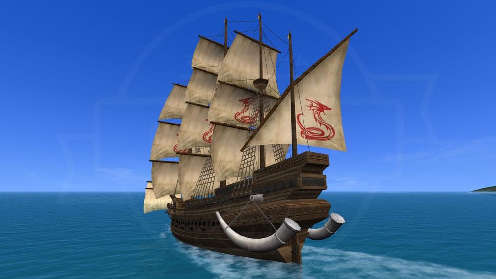 大航海時代 Online Lost Memories (ロスト メモリーズ) 勝利すると獲得できる特別な紋章や船デコ生産の素材を設定した船スクリーンショット