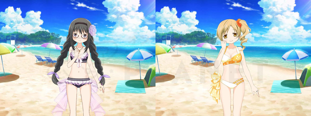 マギアレコード(マギレコ) 魔法少女まどか☆マギカ外伝 PC版 水着バージョン『暁美ほむら』、『巴マミ』スクリーンショット