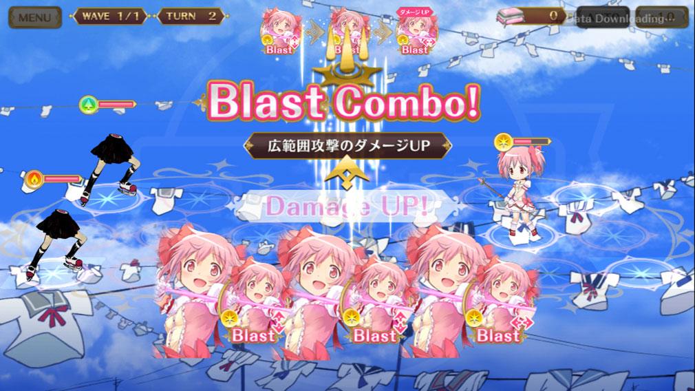 マギアレコード(マギレコ) 魔法少女まどか☆マギカ外伝 PC版 『ディスク』を使ったコンボ発生バトルスクリーンショット