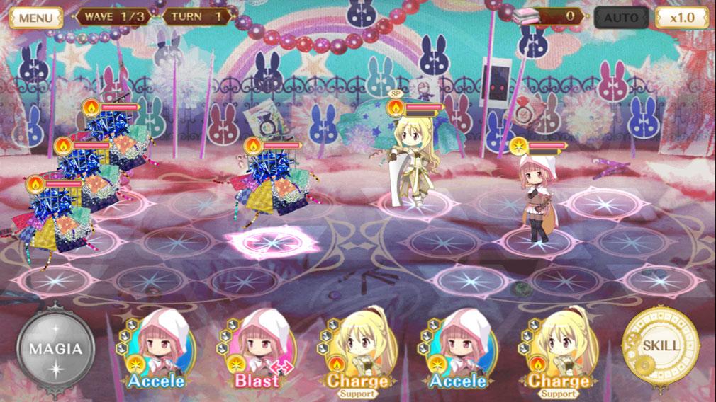 マギアレコード(マギレコ) 魔法少女まどか☆マギカ外伝 PC版 3x3のマスのバトルスクリーンショット