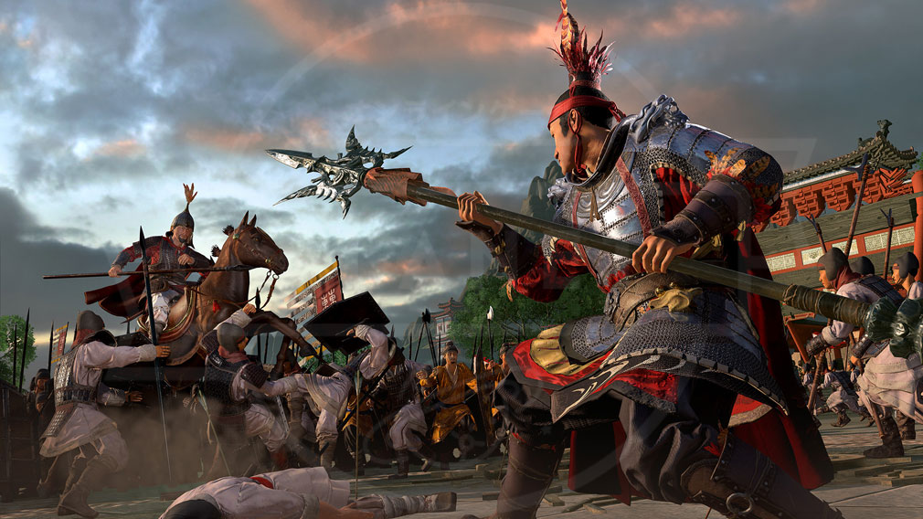 Total War: THREE KINGDOMS (Win PC) 呂布による一撃で落馬した夏侯惇の一騎打ちバトルスクリーンショット
