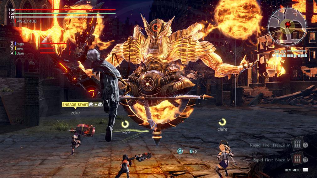 GOD EATER 3(ゴッドイーター3)  GE3 PC 4人でマルチプレイしている『強襲討伐ミッション』スクリーンショット