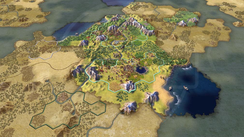 シドマイヤーズ シヴィライゼーション6 (Sid Meier's Civilization VI)Civ6 PC 俯瞰したマップスクリーンショット