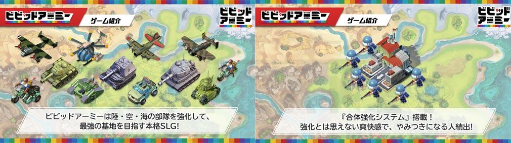 ビビッドアーミー(ビビアミ) 陸・海・空の部隊を強化して、最強基地を目指す本格SLG、『合体強化システム』紹介イメージ