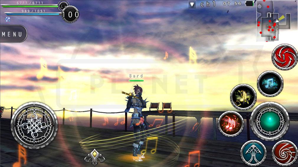 アヴァベルオンライン(AVABEL ONLINE) 絆の塔 ワンダラーの上位職業バードの音楽を奏でて敵を攻撃する特殊スキルスクリーンショット