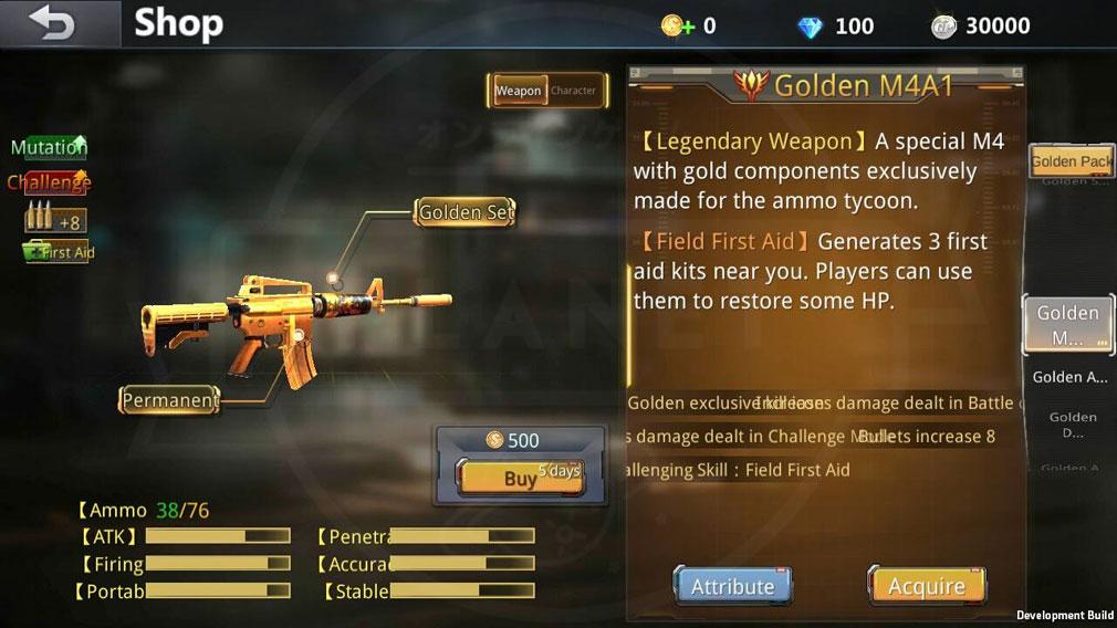 Battle Teams ショップの黄金武器スクリーンショット