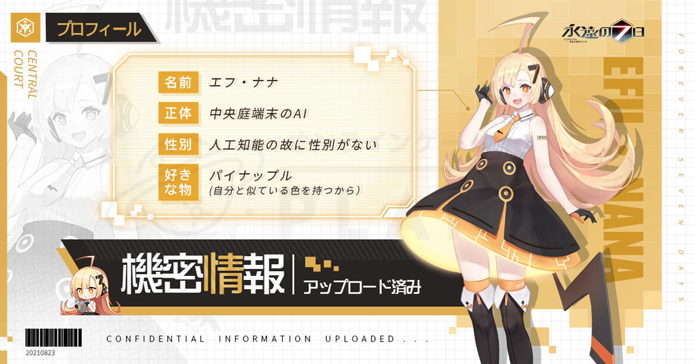 永遠の7日 終わりなき始まり(とわなな) キャラクター『エフ・ナナ』紹介イメージ