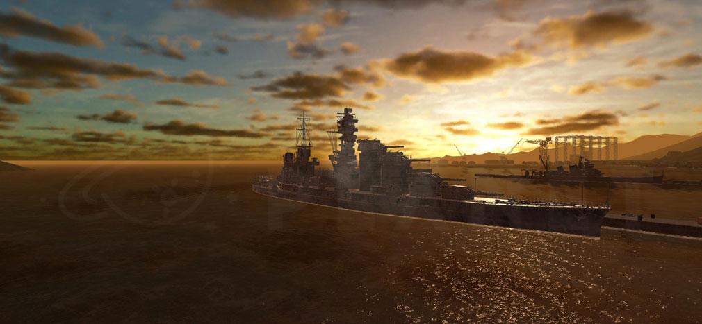 艦つく Warship Craft 艦『日高見』夕方の港スクリーンショット