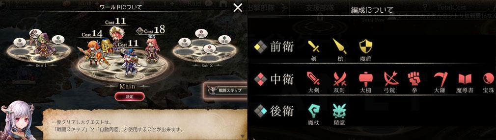 ゴエティアクロス(ゴエクロ) 部隊編成、配置場所毎の武器スクリーンショット